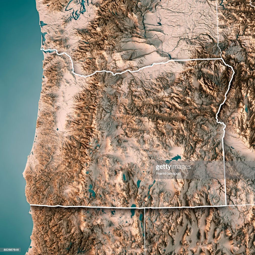 3d Topographic Map Of Usa.Oregon State Usa 3d Render Topographic Map Neutral Border Stock