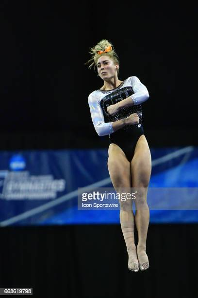 Oregon State's Dani Dessaints on the vault during semifinal I of the NCAA Women's Gymnastics National Championship on April 14 at Chaifetz Arena in...