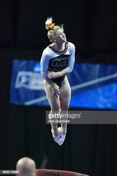 Oregon State's Madeline Gardiner completes her vault during semifinal I of the NCAA Women's Gymnastics National Championship on April 14 at Chaifetz...