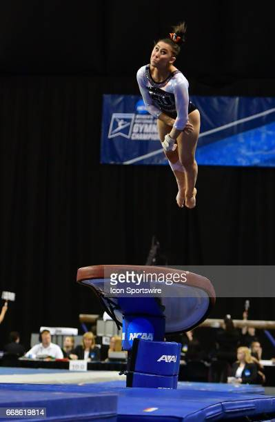 Oregon State's Sabrina Gill completes her vault during semifinal I of the NCAA Women's Gymnastics National Championship on April 14 at Chaifetz Arena...