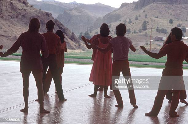 Oregon United States Rajneesh sect doing morning exercises in Antelope