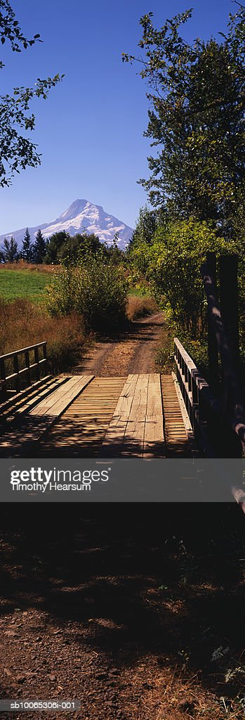 USA, Oregon, view across wooden bridge with Mt Hood in distance : Foto stock