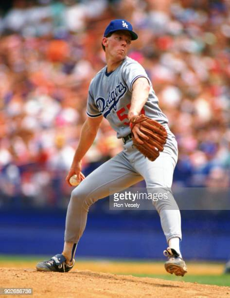 Orel Herscheiser of the Los Angeles Dodgers pitches during an MLB game versus the New York Mets at Shea Stadium in Queens NY during the 1989 season