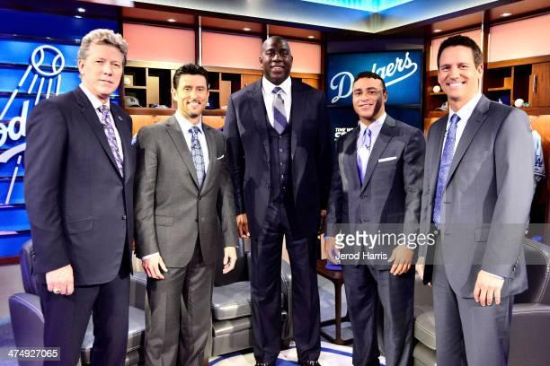 Orel Hershiser Nomar Garciaparra Earvin 'Magic' Johnson Jerry Hairston Jr and John Hartung attend the launch of SportsNet LA on February 25 2014 in...