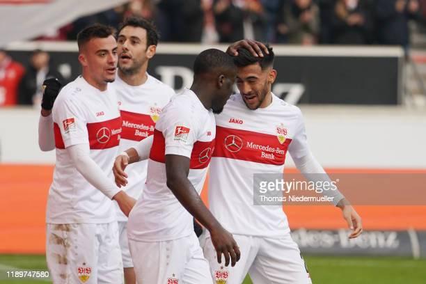 Orel Mangala celebrates his goal with Nicolas Gonzalez during the Second Bundesliga match between VfB Stuttgart and Karlsruher SC at MercedesBenz...
