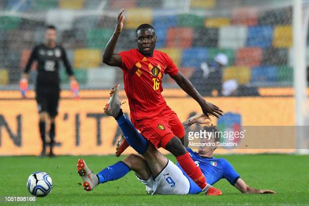 Orel Mangala of Belgium U21 competes for the ball with Alessandro Bastoni of Italy U21 during the International Friendly match between Italy U21 and...