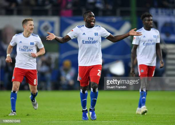 Orel Mangala of Hamburg celebrates as Aaron Hunt of Hamburg scores his team's first goal during the Second Bundesliga match between Hamburger SV and...