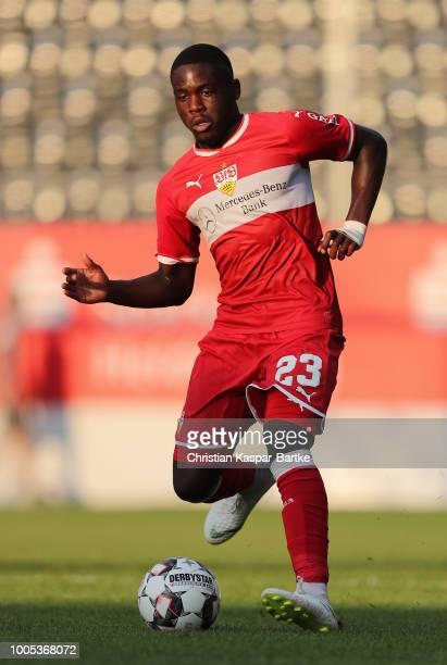 Orel Mangala of Stuttgart in action during the preseason friendly match between SV Sandhausen and VfB Stuttgart on July 25 2018 in Sandhausen Germany