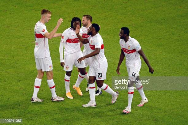 Orel Mangala of VfB Stuttgart celebrates after scoring his team's first goal with teammates during the Bundesliga match between VfB Stuttgart and 1....