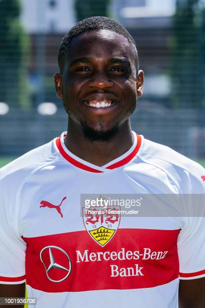 Orel Mangala of VfB Stuttgart poses during the team presentation at on July 19 2018 in Stuttgart Germany