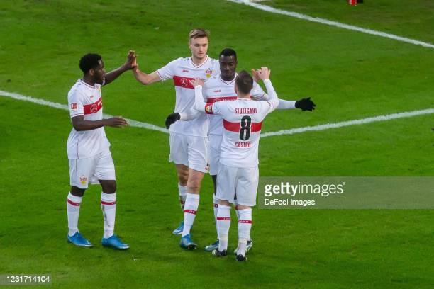 Orel Mangala of VfB Stuttgart, Sasa Kalajdzic of VfB Stuttgart, Silas Wamangituka of VfB Stuttgart and Gonzalo Castro of VfB Stuttgart celebrates...
