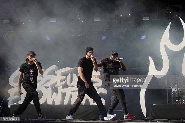 Orelsan and Gringe from Casseurs Flowters perform at Rock en Seine on August 27 2016 in Paris France