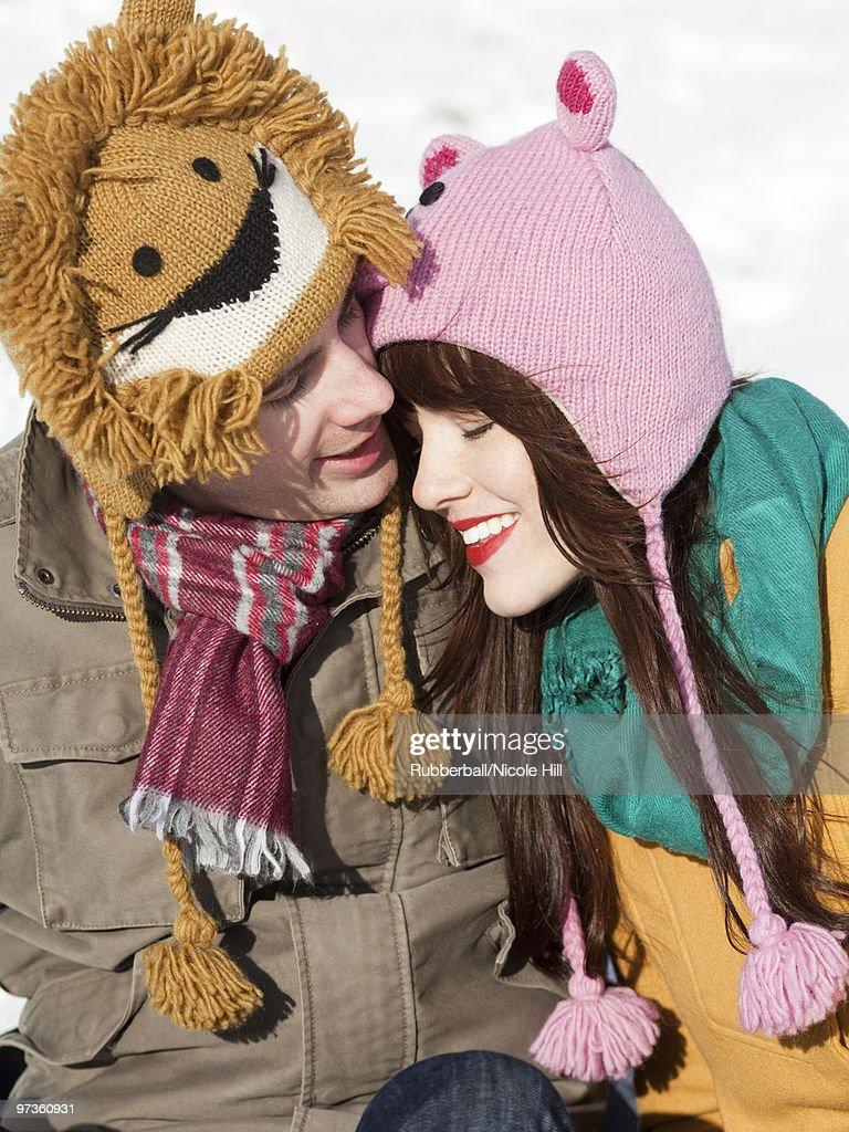 the best attitude 0e578 ef03b ... cheapest orem utah usa boyfriend and girlfriend wearing funny knit hats  embracing e5791 2a819