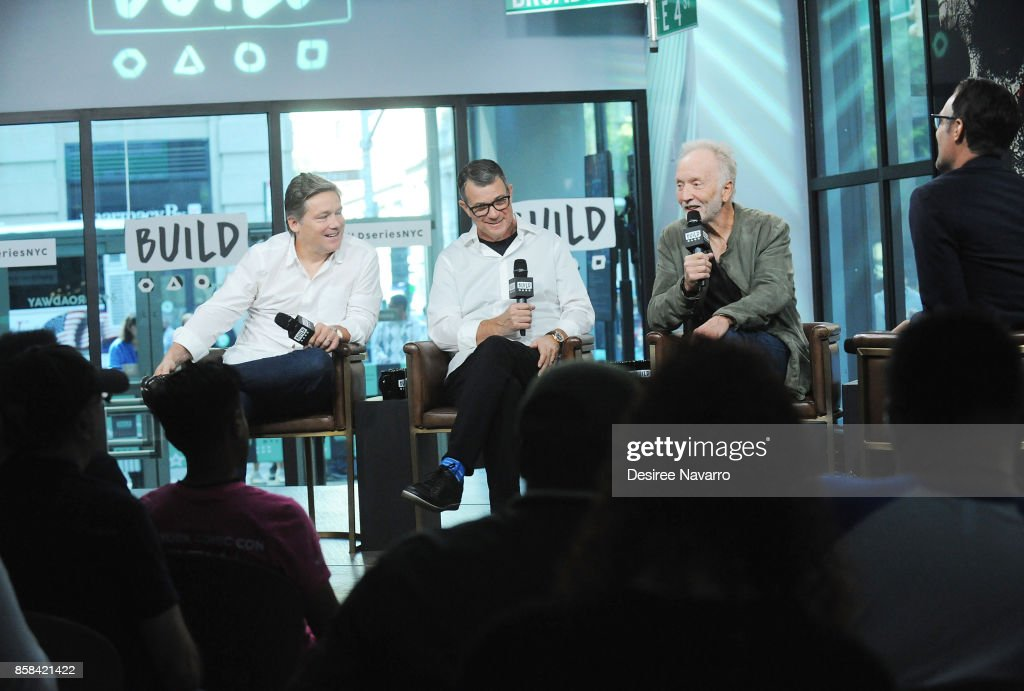 Oren Koules, Mark Burg and Tobin Bell attend Build to discuss 'Jigsaw' at Build Studio on October 6, 2017 in New York City.