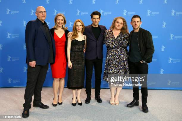 "Oren Moverman, Celine Rattray, Jaime Ray Newman, Guy Nattiv, Danielle Macdonald and Jamie Bell pose at the ""Skin"" photocall during the 69th Berlinale..."