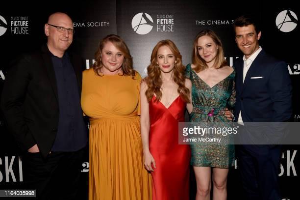 Oren Moverman Daniel Henshall Jaime Ray Newman Louisa Krause and Director Guy Nattiv attend the Skin New York Screening at The Roxy Cinema on July 24...