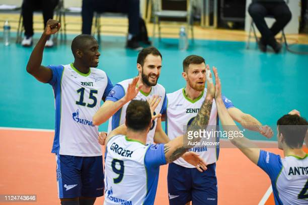 Oreol Camejo Durruthy Alexander Volkov and Evgeny Sivozhelez of Zenit celebrate during the Champions League CEV match between Chaumont and Zenit of...