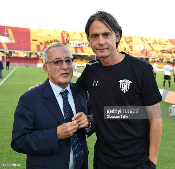 Oreste Vigorito President of Benevento Calcio and Filippo Inzaghi head coach of Benevento Calcio greet prior the Serie B match between Benevento...
