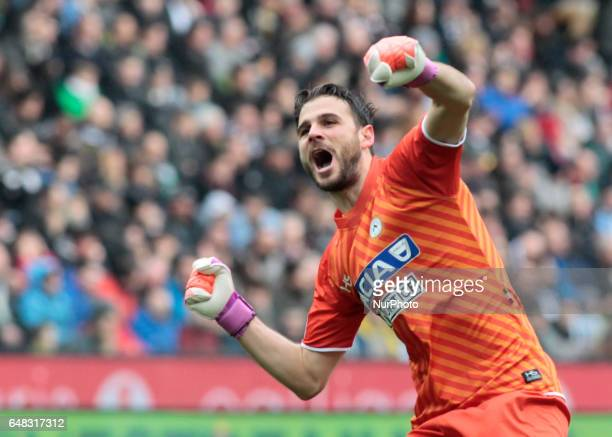 Orestis Karnezis during Serie A match between Udinese v Juventus in Udine on March 25 2017
