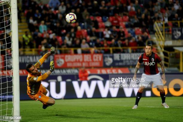 Orestis Karnezis goalkeeper of SSC Napoli in action during the Serie A match between Bologna FC and SSC Napoli at Stadio Renato Dall'Ara on May 25...