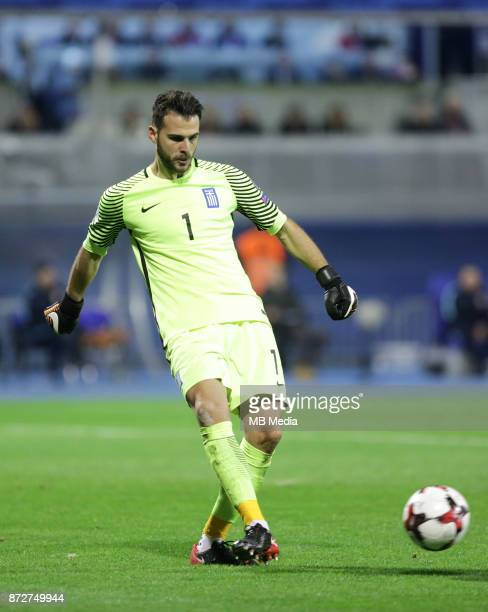 Orestis Karnezis of Greece controls the ball during the FIFA 2018 World Cup Qualifier playoff first leg match between Croatia and Greece at Maksimir...