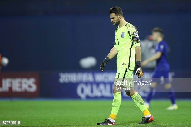 Orestis Karnezis of Greece during the FIFA 2018 World Cup Qualifier playoff first leg match between Croatia and Greece at Maksimir Stadium on...