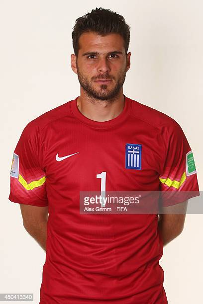Orestis Karnezis of Greece poses during the official FIFA World Cup 2014 portrait session on June 10 2014 in Aracaju Brazil