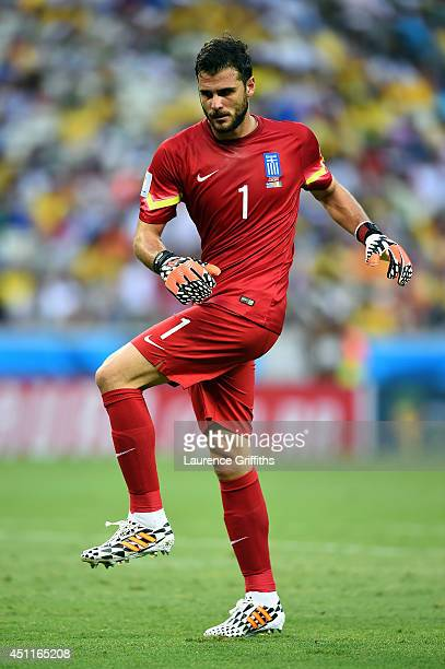 Orestis Karnezis of Greece stretches during the 2014 FIFA World Cup Brazil Group C match between Greece and the Ivory Coast at Castelao on June 24...