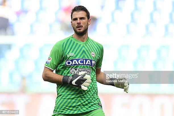 Orestis Karnezis of Udinese Calcio in action during the Serie A match between Genoa CFC and Udinese Calcio at Stadio Luigi Ferraris on November 6...