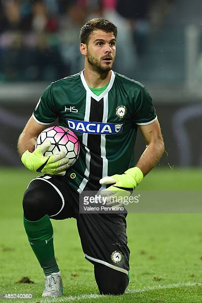 Orestis Karnezis of Udinese Calcio looks on during the Serie A match between Juventus FC and Udinese Calcio at Juventus Arena on August 23 2015 in...