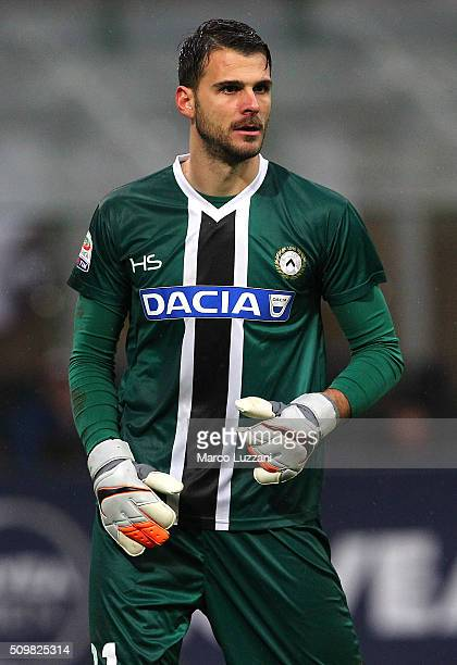 Orestis Karnezis of Udinese Calcio looks on during the Serie A match between AC Milan and Udinese Calcio at Stadio Giuseppe Meazza on February 7 2016...