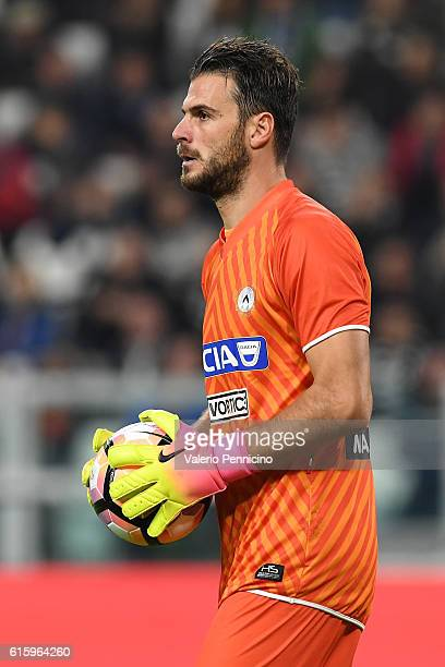 Orestis Karnezis of Udinese Calcio looks on during the Serie A match between Juventus FC and Udinese Calcio at Juventus Stadium on October 15 2016 in...
