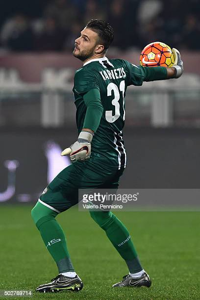 Orestis Karnezis of Udinese Calcio throws the ball during the Serie A match between Torino FC and Udinese Calcio at Stadio Olimpico di Torino on...