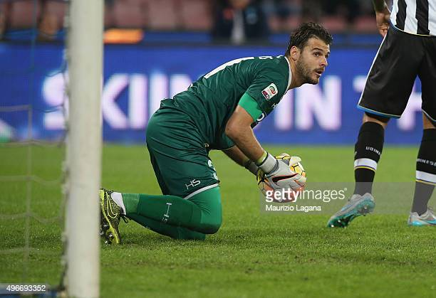 Orestis Karnezis of Udinese during the Serie A match between SSC Napoli and Udinese Calcio at Stadio San Paolo on November 8 2015 in Naples Italy