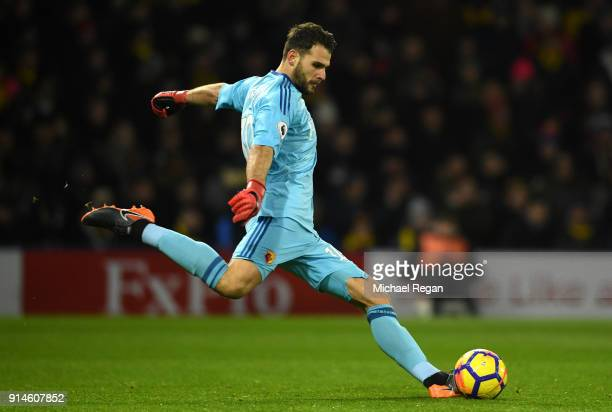 Orestis Karnezis of Wartford during the Premier League match between Watford and Chelsea at Vicarage Road on February 5 2018 in Watford England