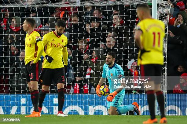 Orestis Karnezis of Watford dejected after conceding the second goal during the Premier League match between Liverpool and Watford at Anfield on...