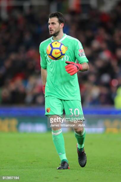 Orestis Karnezis of Watford during the Premier League match between Stoke City and Watford at Bet365 Stadium on January 31 2018 in Stoke on Trent...