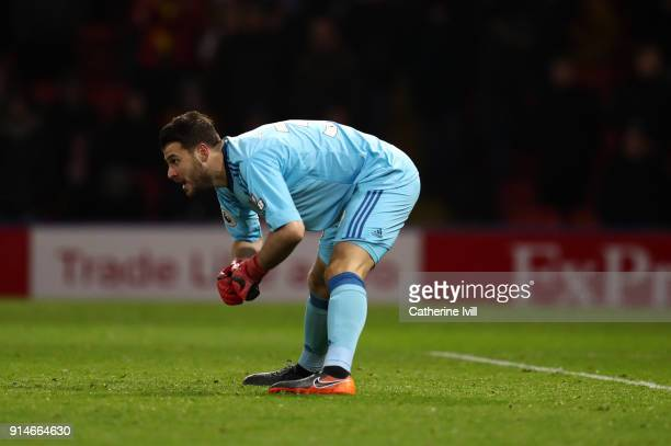 Orestis Karnezis of Watford during the Premier League match between Watford and Chelsea at Vicarage Road on February 5 2018 in Watford England