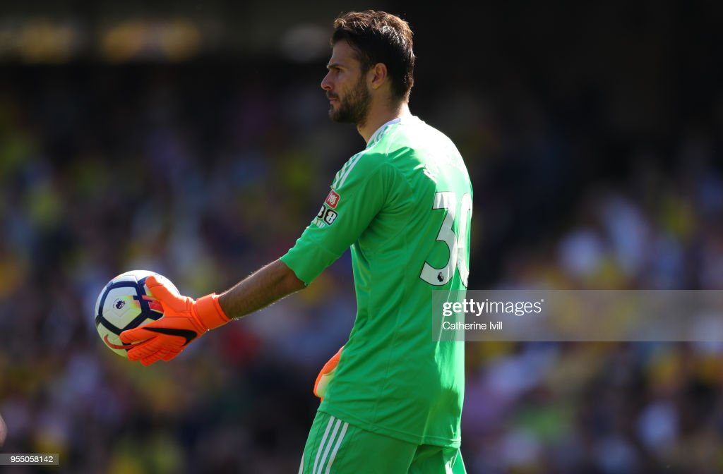 Orestis Karnezis of Watford during the Premier League match between Watford and Newcastle United at Vicarage Road on May 5, 2018 in Watford, England.