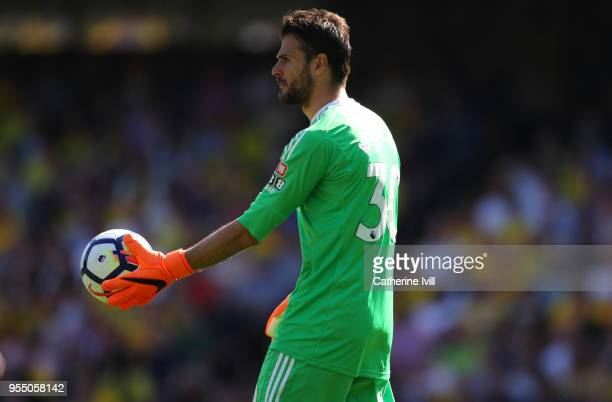 Orestis Karnezis of Watford during the Premier League match between Watford and Newcastle United at Vicarage Road on May 5 2018 in Watford England