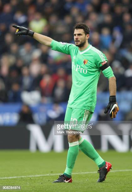 Orestis Karnezis of Watford in action during the Premier League match between Leicester City and Watford at The King Power Stadium on January 20 2018...