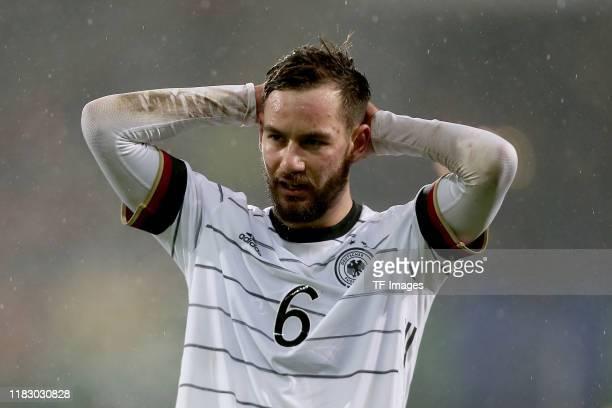 Orestis Kiomourtzoglou of Germany U21 looks dejected during the UEFA Under 21 European Qualifier match between Germany U21 and Belgium U21 at...