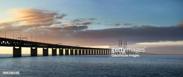 Oresund Bridge Connecting Sweden and Denmark at Sunset