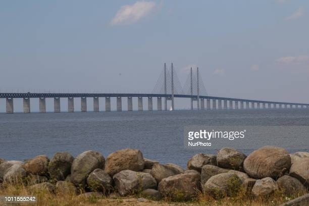 Oresund Bridge doubletrack railway and dual carriageway bridgetunnel between Denmark and Sweden by the Baltic sea is seen in Malmo Sweden on 28 July...