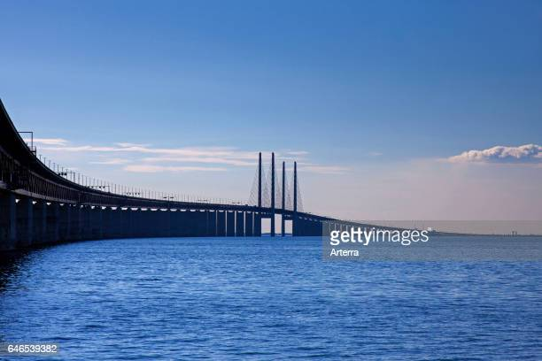 Oresund Bridge doubletrack railway and dual carriageway bridgetunnel between Denmark and Sweden Scandinavia