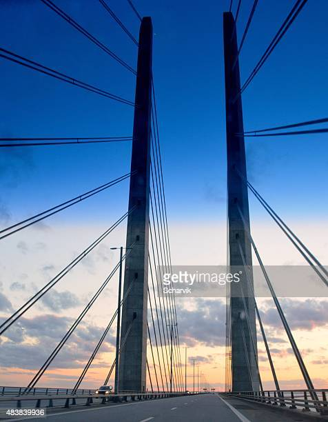 oresund bridge - oresund region stock photos and pictures