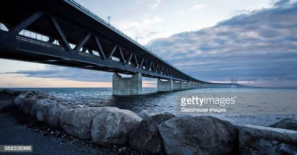 Oresund Road and Rail Bridge Connecting Denmark and Sweden