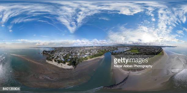 Orewa River and Red beach, Hibiscus Coast, Auckland, New Zealand.