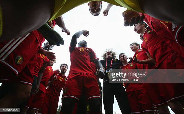 Orewl Mangala and team mates of Belgium celebrate winning the FIFA U-17 World Cup Chile 2015 Third Place Play-Off match between Belgium and Mexico at...