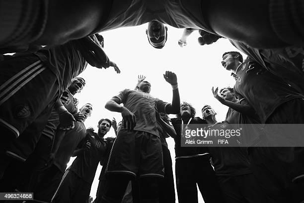 Orewl Mangala and team mates of Belgium celebrate winning the FIFA U17 World Cup Chile 2015 Third Place PlayOff match between Belgium and Mexico at...